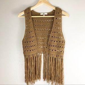 YA Los Angeles Brown crochet Fringe vest